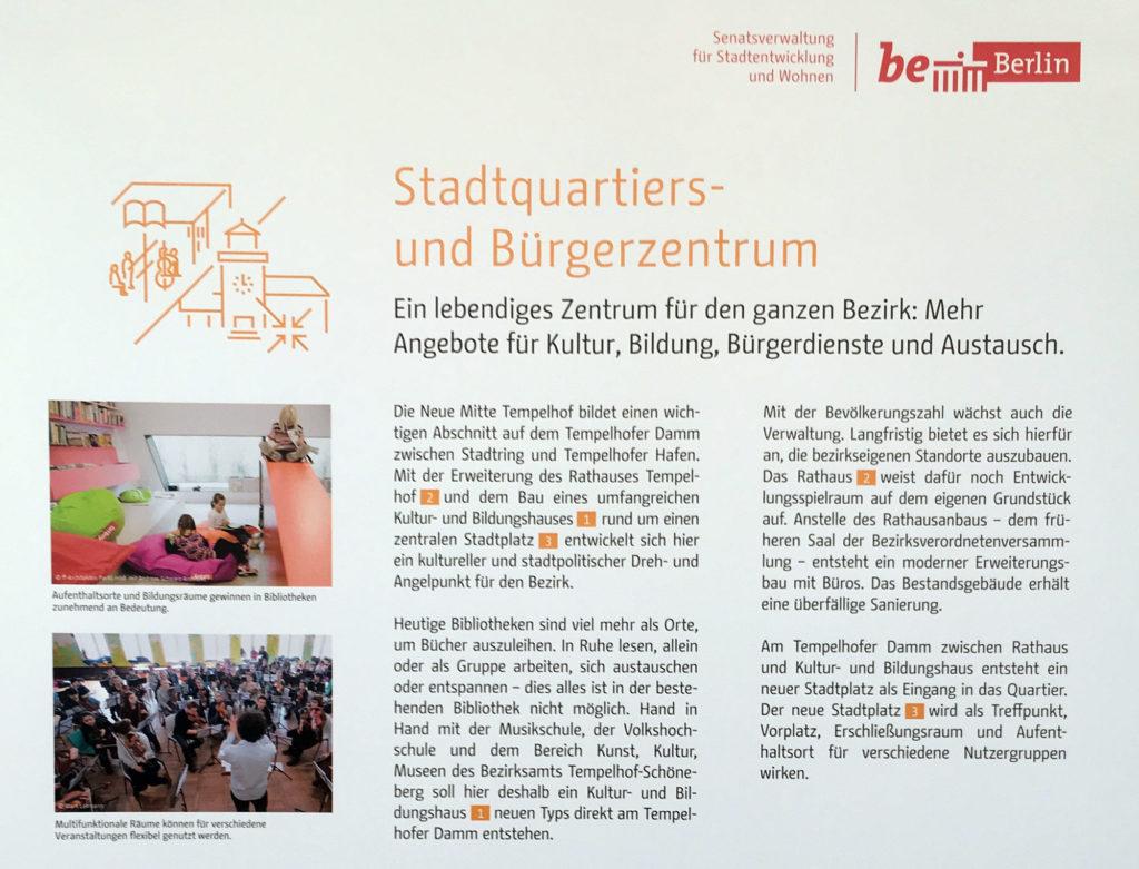 So soll es werden im Bezirk Tempelhof. Ausstellung in der Bezirksbibliothek im Eva-Maria-Buch-Haus ©K. Schwahlen